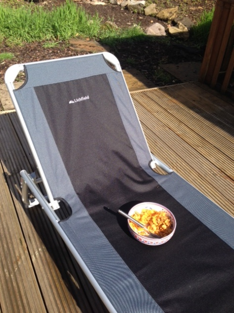 breakfast on the new sun lounger