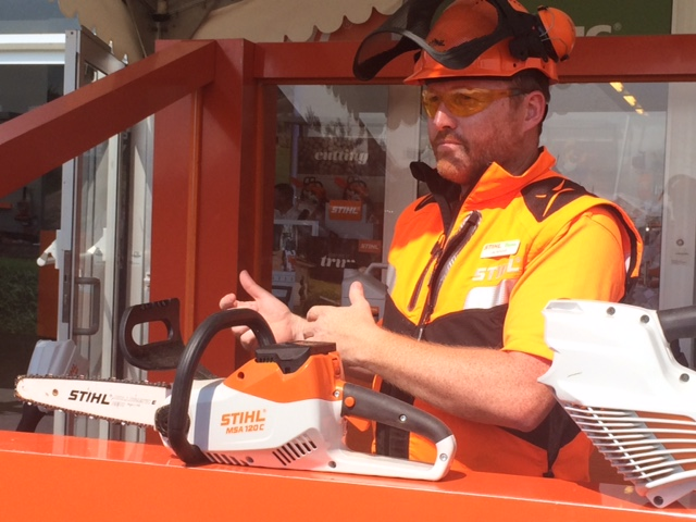 The lovely Lee demo-ing STIHL's new cordless range